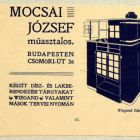 Advertisement - for the carpenter József Mucsai