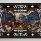 Painted lapis lazuli panel - The Garden of Eden with the Creation of Eve (recto) - The Crossing of the Red Sea (verso)
