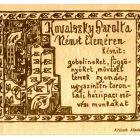 Advertisement card - for Sarolt Kovalszky's weaving mill at Németelemér