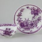 Tea cup and saucer - with oriental ('Indian flower basket') pattern