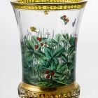 Ornamental glass - with strawberry plants