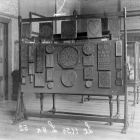 Exhibition photograph - gingerbread moulds in the 'Hungarian Room' of the permament exhibition of Museum of Applied Arts