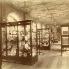 Interior photograph - gallery of the exhibition hall with ornamental ceiling paintings, Museum of Applied Arts