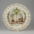 Ornamental plate - with portraits of Prince William V facing his consort with orange tree in between