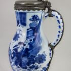 Jug with pewter lid - with chinoiserie scene